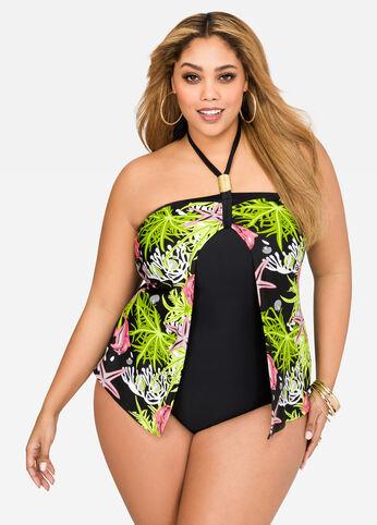 Flyaway Power Mesh Halter Swimsuit