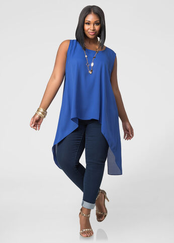Plus Size Split Back Hi-Lo Blouse in Blue - Front