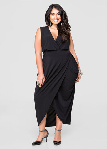Solid Grecian Maxi Dress