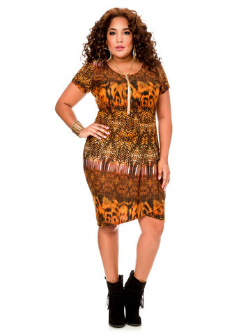 Mixed Print Pleat Front Dress