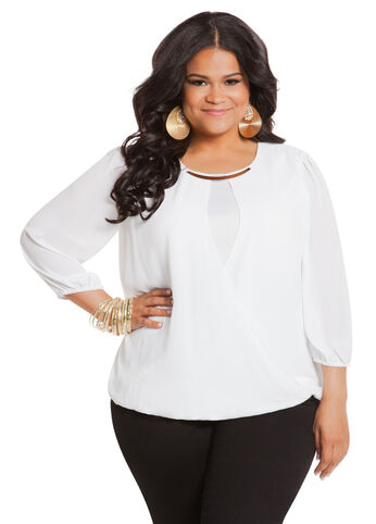 Solid Surplice Top with Necklace
