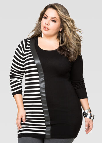 Asymmetric Stripe Tunic Sweater