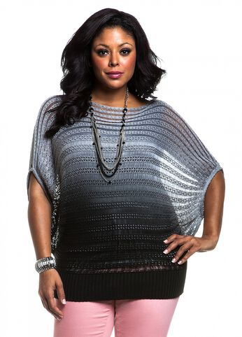 Ombre Open Weave Dolman Sleeve Sweater