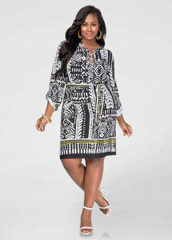 Printed Chain Link Shirtdress