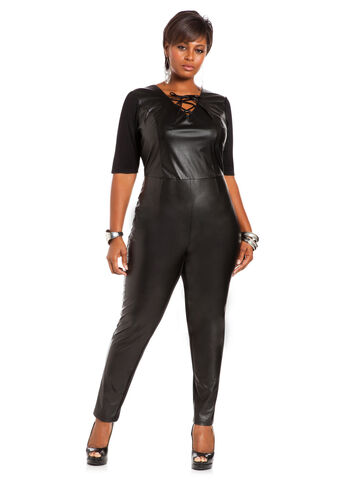 Ponte and Faux Leather Jumpsuit