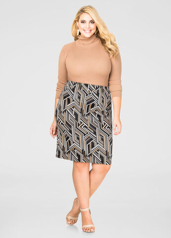 Abstract Geo Pencil Skirt