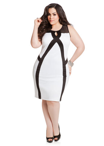 Mesh Top Colorblock Scuba Dress