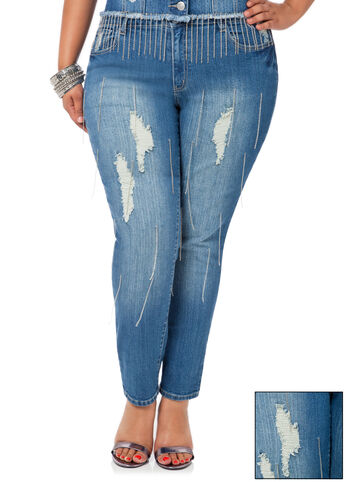 Chain Destructed Skinny Jeans