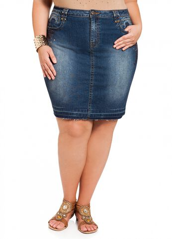 Embroidered Stud Denim Skirt