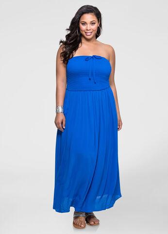 Strapless Smocked Gauze Maxi Dress