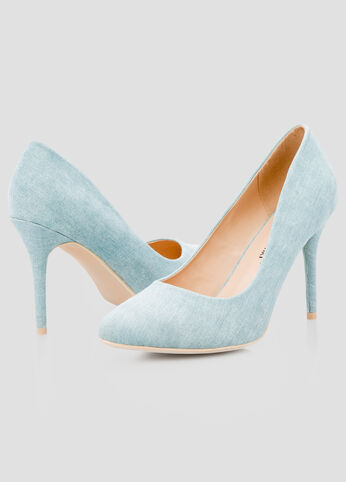 DENIM POINTY TOE PUMP - Wide Width