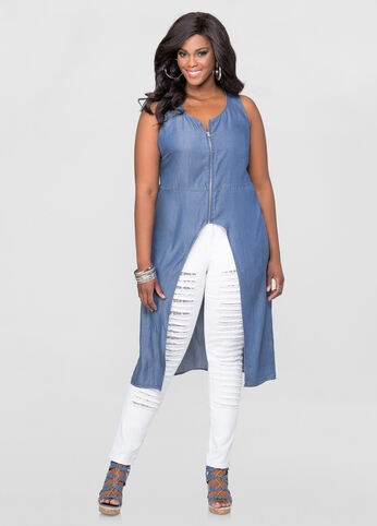 Denim Zip Hi-Lo Duster Top