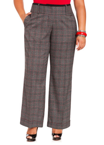 Cuffed Wide Leg Plaid Pants