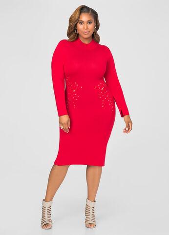 Mock Neck Grommet Sweater Dress