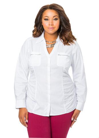 Ruched Zip Pocket Shirt