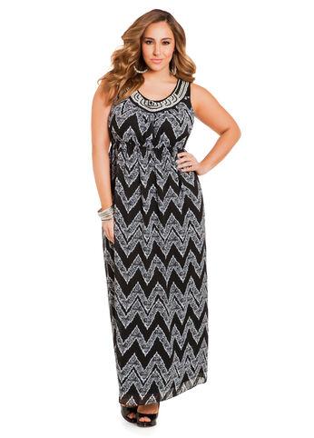 Chevron Lace Print Maxi Dress