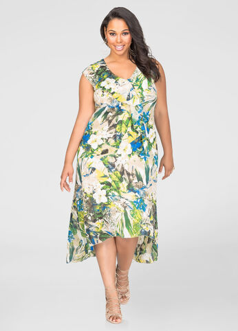 Printed Hi-Lo Flounce Maxi Dress