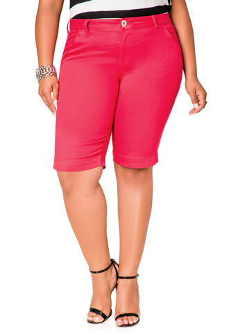 Solid Twill Bermuda Shorts
