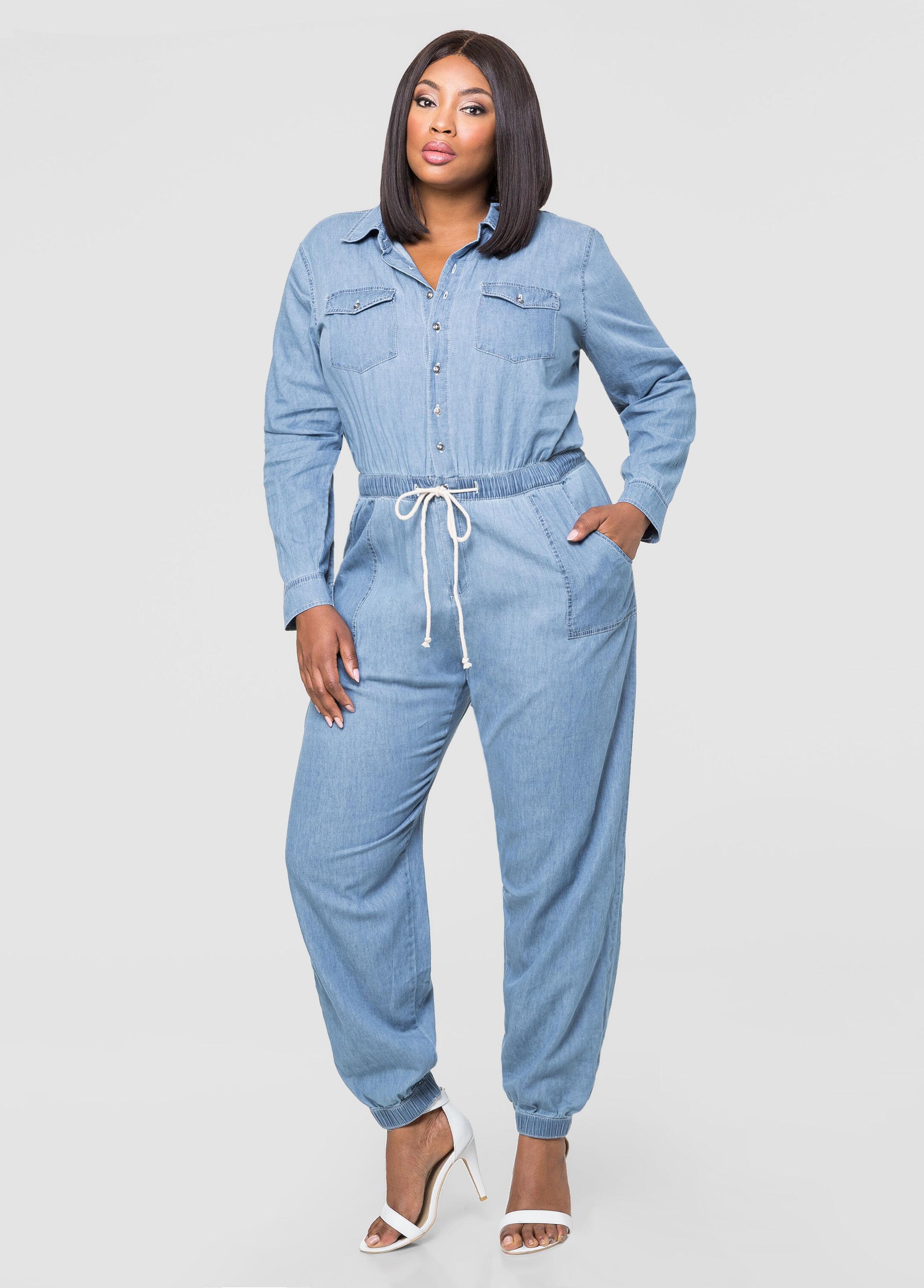 808deb52de72 Denim mechanics jumpsuit plus size dresses ashley stewart jpg 346x482 Plus  size denim jumpsuits for women