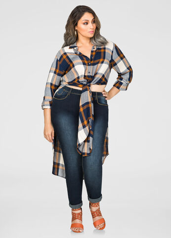 Navy Gold Plaid Duster