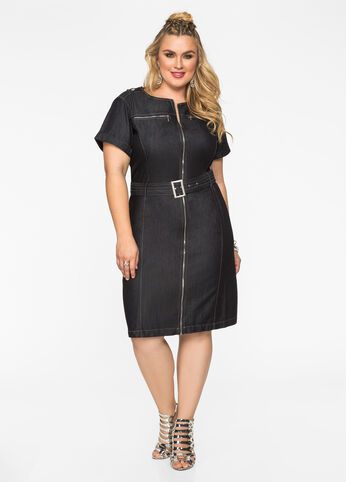 Modern Jean Dress with Zips