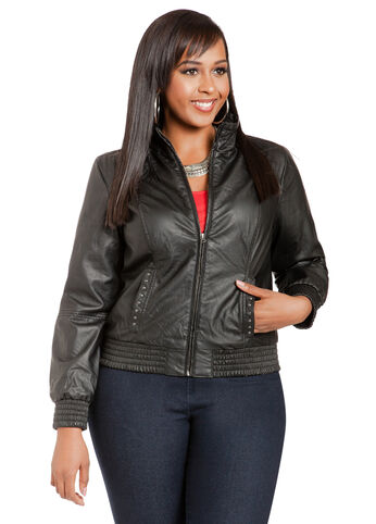 Faux Leather Baseball Jacket