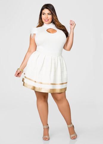 Cream And Gold Bandage Flare Skirt