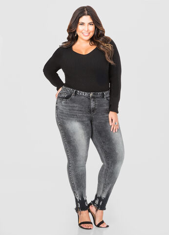 Plus Size Grey Wash Ombre Zip Skinny Jean 034-PA1932B