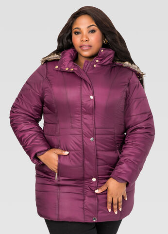 Shiny Quilted Puffer Winter Coat