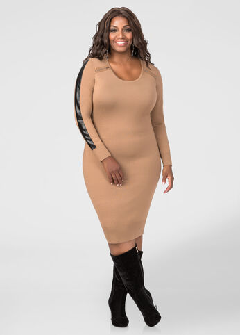 Faux Leather Sleeve Sweater Dress