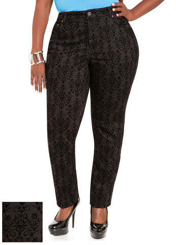 Black Skinny Baroque Denim Pants