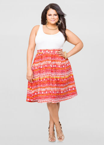 Tribal Box Pleat Scuba Skirt