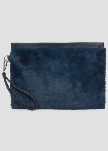 Oversized Fur Wristlet Clutch at Ashley Stewart