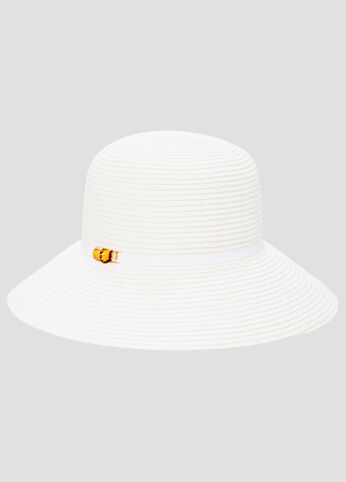 Grosgrain Band Straw Bucket Hat