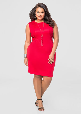 Embossed Scuba Sheath Dress