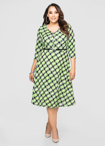 Belted Geo Print Hacci Midi Dress