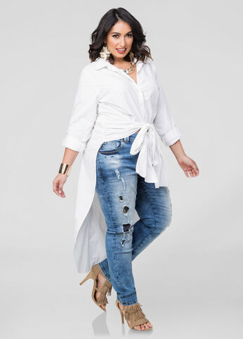 Tie Front Button Front Duster Shirt