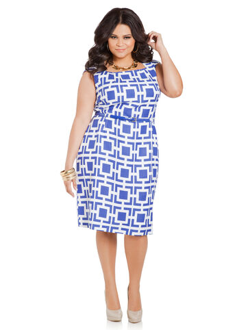 Geo Print Linen Sheath Dress