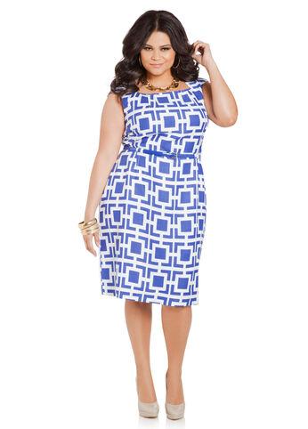 Geo Print Linen Sheath Dress