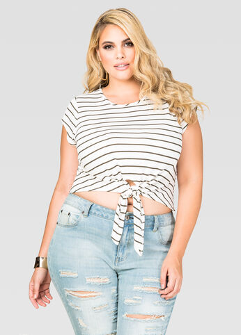 Striped Tie Front Crop Top