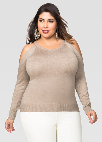 Hint Of Cashmere Cold Shoulder Sweater