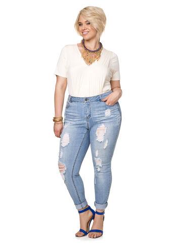 Destructed Roll Cuff Skinny Jean