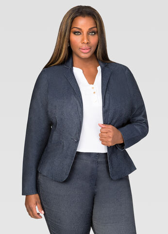 Single Button Denim Blazer