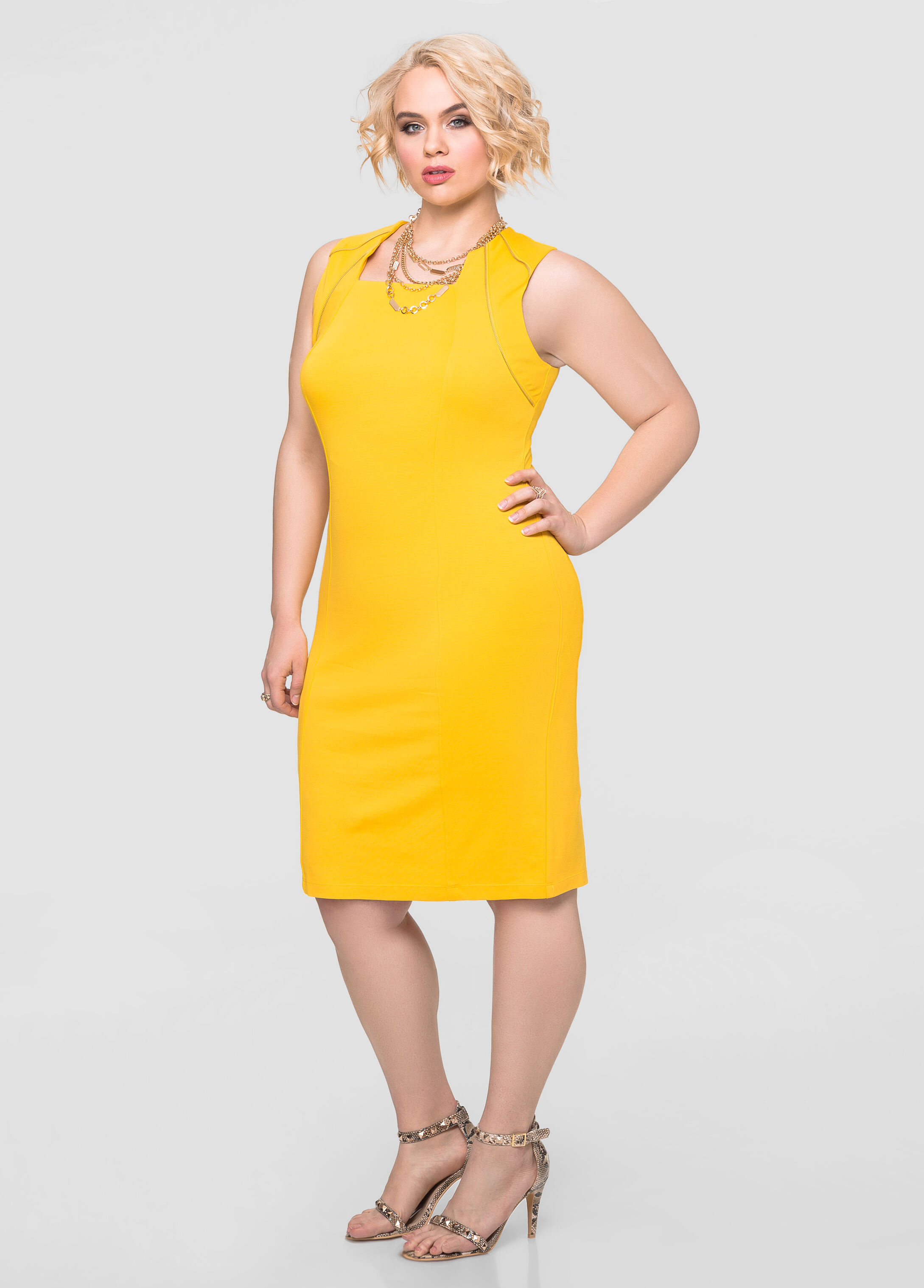 yellow zip dress a day