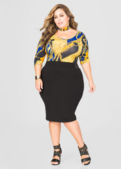 Side Elastic Ponti Skirt