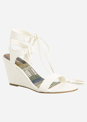 Lace-Up Wedge Sandals - Wide Width