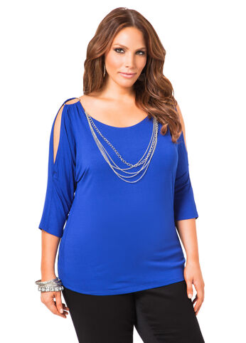 Cold Shoulder Chain Top