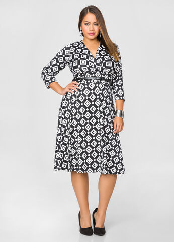 Geo Print Surplice A-Line Dress