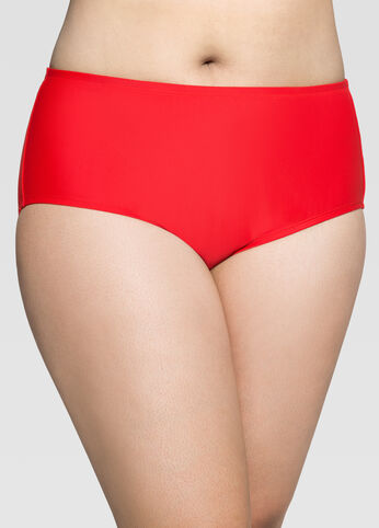 Solid Red High Waist Bikini Bottom