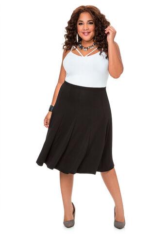 Textured Black Flare Skirt